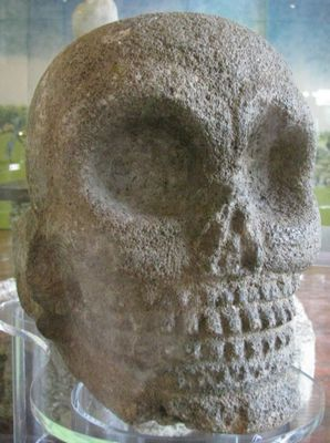 Carved stone skull, Mayalands.